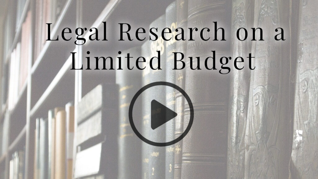 Legal Research on a Budget